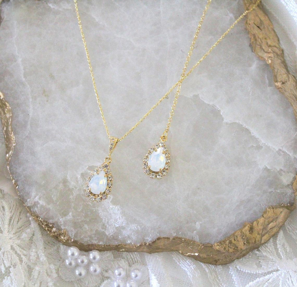 Dainty Swarovski white opal backdrop necklace - GIA - Treasures by Agnes