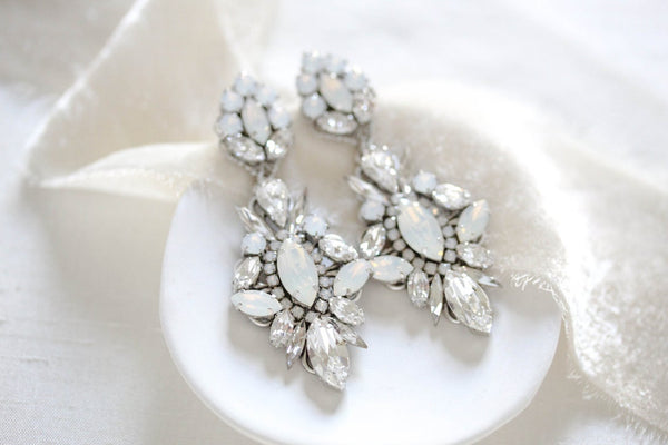 Vintage style Chandelier Wedding earrings with Swarovski crystals - PENELOPE
