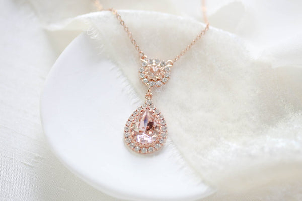 Swarovski vintage rose teardrop pedant necklace - ALAYNA - Treasures by Agnes