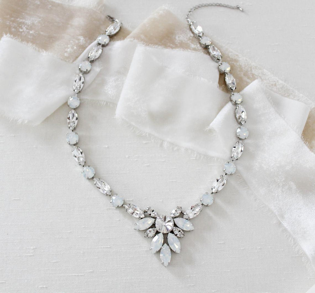 Swarovski white opal statement bridal necklace - JOELLE - Treasures by Agnes