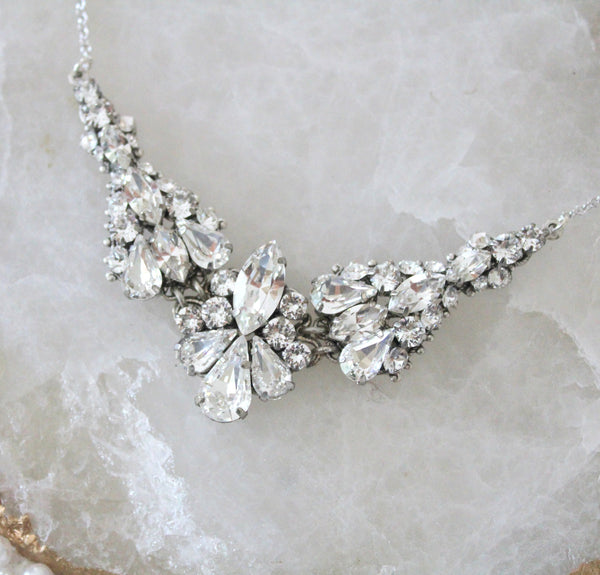 Vintage Bridal necklace with Swarovski crystals - ATHENA - Treasures by Agnes