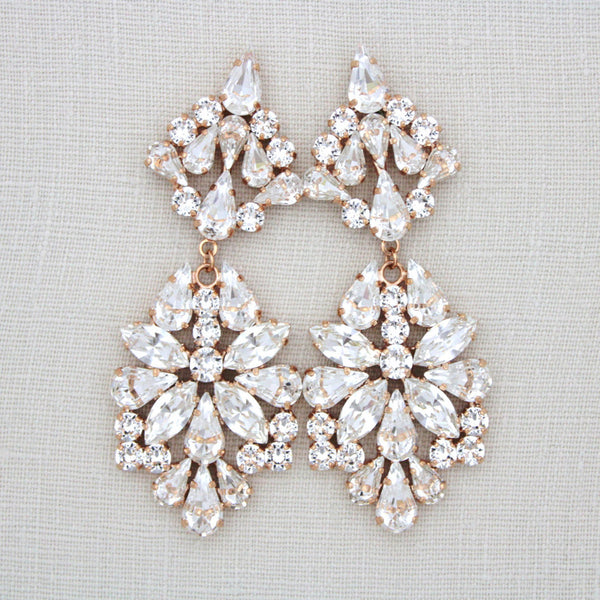 Statement Bridal Swarovski Crystal Earrings - SADIE - Treasures by Agnes