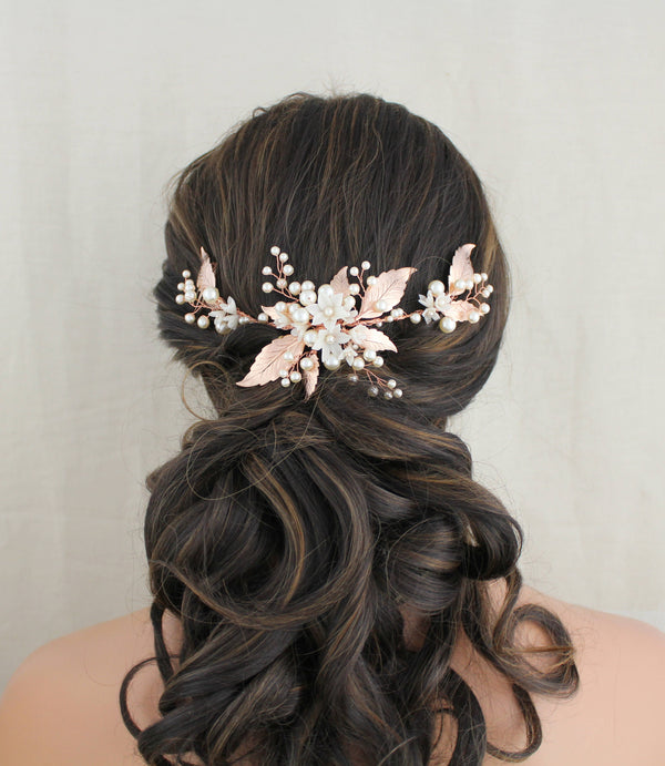Rose gold leaf bridal hair vine headpiece with pearls - Treasures by Agnes