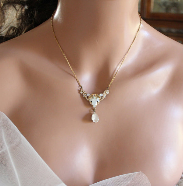 Antique gold Swarovski White opal Ivory cream Bridal necklace - Treasures by Agnes