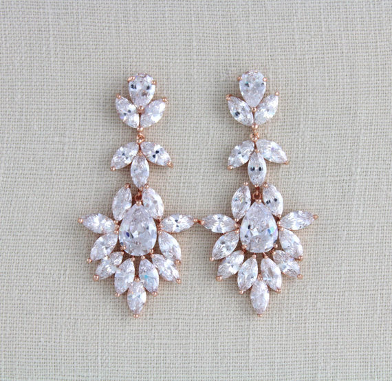 Large cubic zirconia rose gold bridal statement earrings - AVERY - Treasures by Agnes