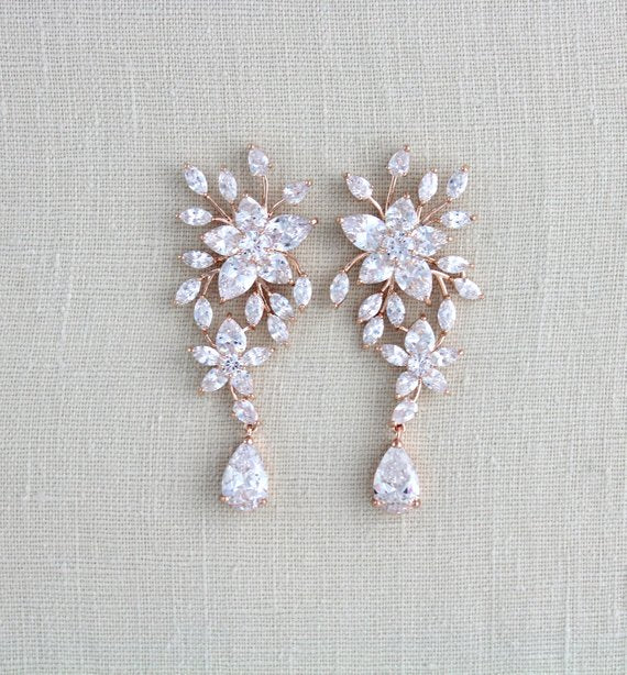 Large Rose gold Bridal earrings LILY - Treasures by Agnes