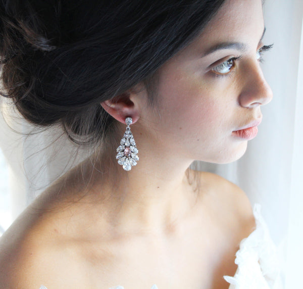 Swarovski crystal bridal earrings with blush pink accent - HAILEY - Treasures by Agnes