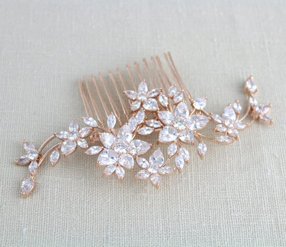 Rose gold wedding headpiece hair comb - LILY - Treasures by Agnes