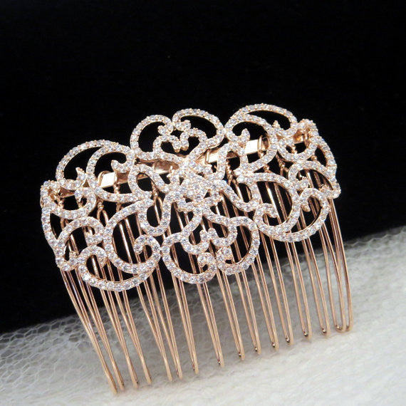 Rose Gold hair comb Wedding hair accessory Bridal hair jewelry - Treasures by Agnes