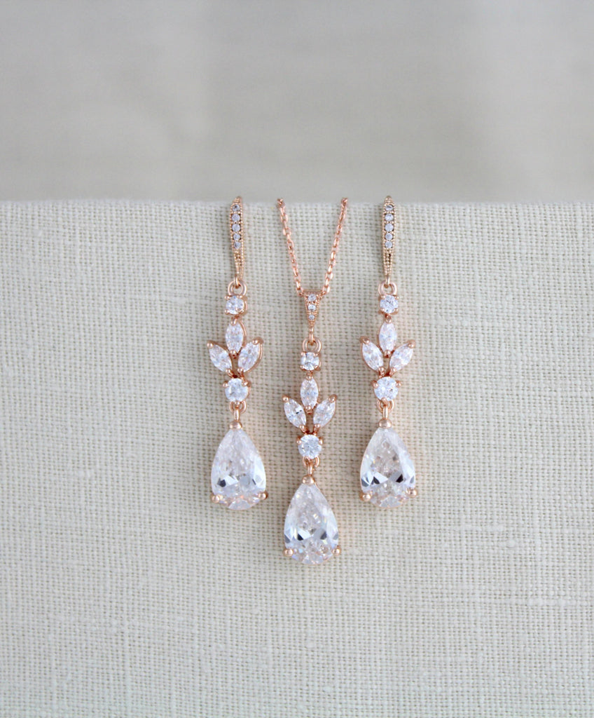 Rose gold Cubic Zirconia Bridal or Bridesmaid jewelry set - LAUREN - Treasures by Agnes