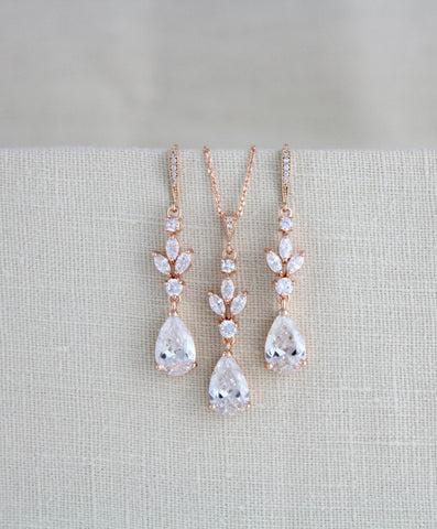 Rose gold Wedding jewelry set - Treasures by Agnes