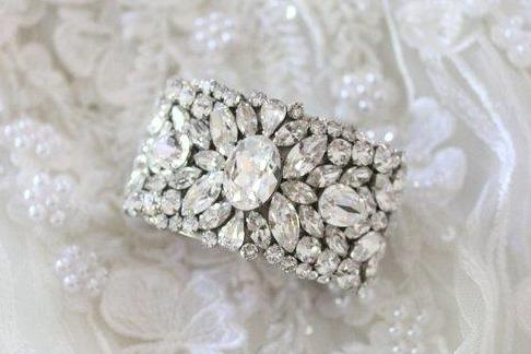 Vintage Antique silver Bridal cuff bracelet with Swarovski crystals - PAIGE - Treasures by Agnes