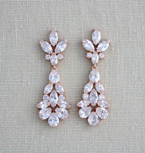 Rose gold crystal Dangle Bridal chandelier earrings - Treasures by Agnes