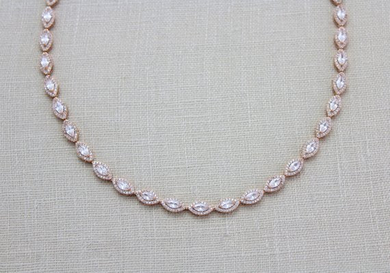 Rose Gold Bridal necklace with Cubic zirconia stones - SCARLETT - Treasures by Agnes