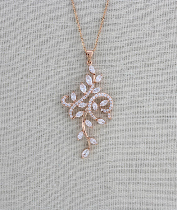 Rose gold cubic zirconia bridal pendant necklace - JENNA - Treasures by Agnes