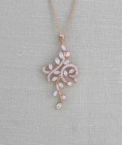 Rose gold pendant necklace , Cubic Zirconia necklace - Treasures by Agnes