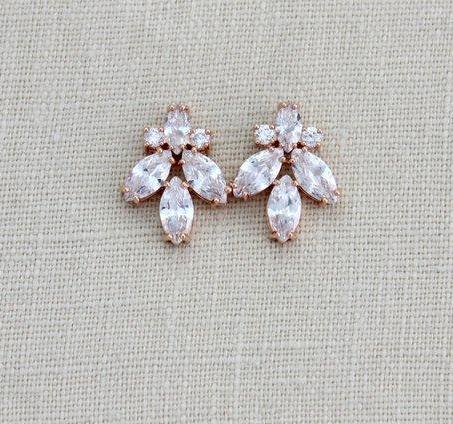 Rose gold Cubic Zirconia stud Bridal earrings - DIVINE - Treasures by Agnes