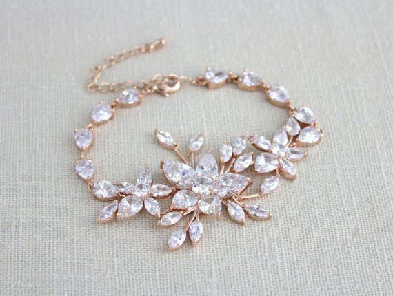 Rose gold statement Wedding bracelet - LILY - Treasures by Agnes