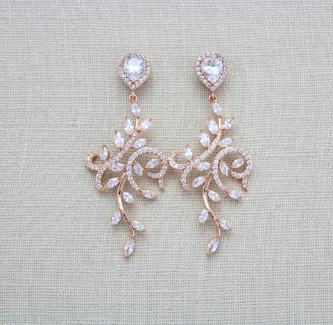 Rose gold Chandelier earrings for Bride, Statement earrings - Treasures by Agnes