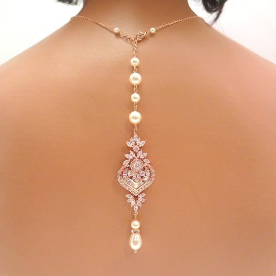 Rose gold Bridal Backdrop necklace - EMMA - Treasures by Agnes
