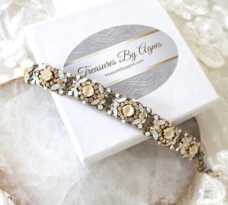 Antique gold Swarovski ivory cream and white opal bridal bracelet - Treasures by Agnes