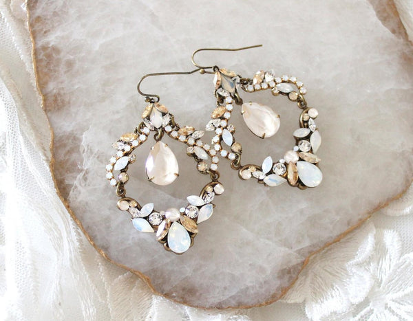 Antique gold Bridal Statement Chandelier earrings with Swarovski crystals - Treasures by Agnes