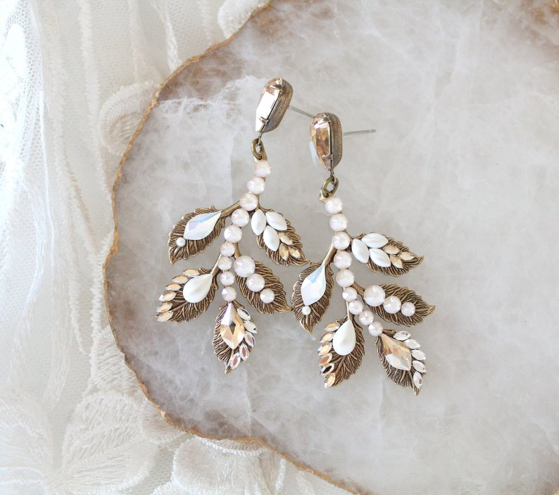 Antique Gold Swarovski Crystal leaf earrings - Treasures by Agnes