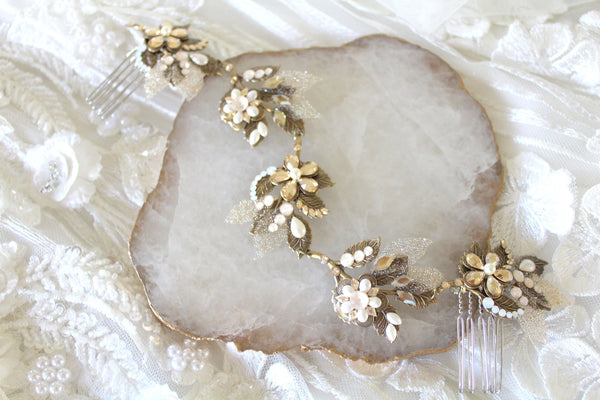 Antique gold Swarovski crystal Bridal hair vine - Treasures by Agnes