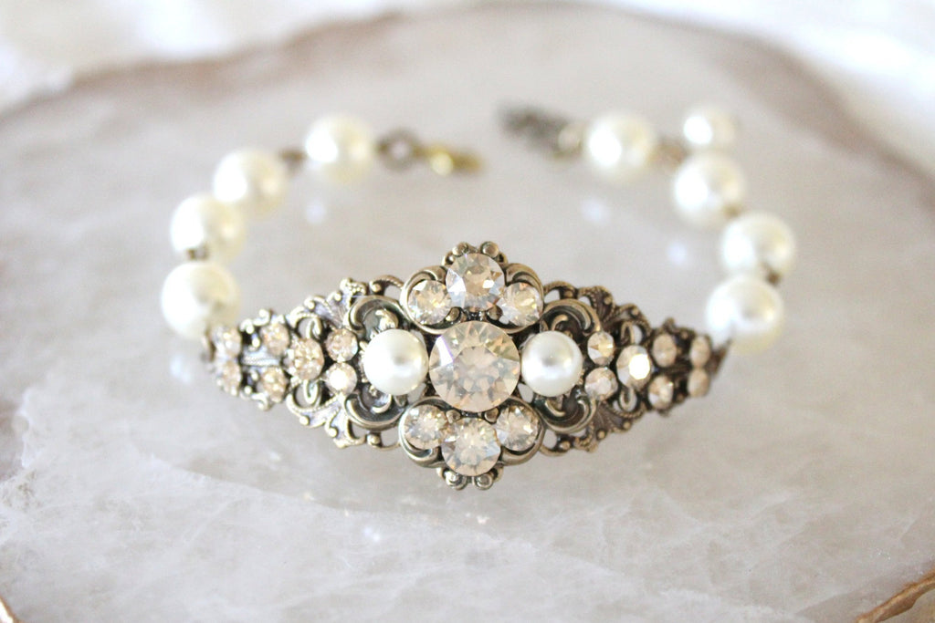 Antique gold Bridal bracelet Vintage Swarovski crystal bracelet - Treasures by Agnes