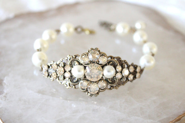 antique gold bridal bracelet with swarovski crystal and pearls