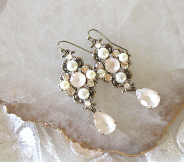 Antique gold Ivory cream Swarovski crystal Bridal earrings - Treasures by Agnes