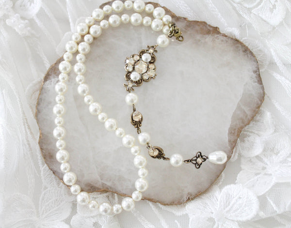 Bridal Backdrop necklace Vintage Pearl necklace with Swarovski crystals - ASHLYN - Treasures by Agnes