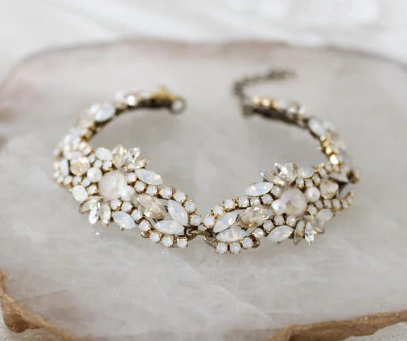 Antique gold Swarovski crystal Bridal beaded bracelet - treasures by agnes