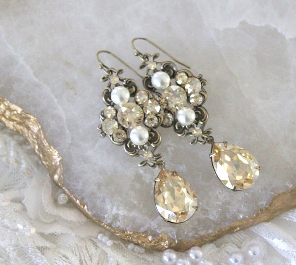 Antique gold Swarovski Crystal Bridal earrings Vintage style Chandelier earrings - Treasures by Agnes