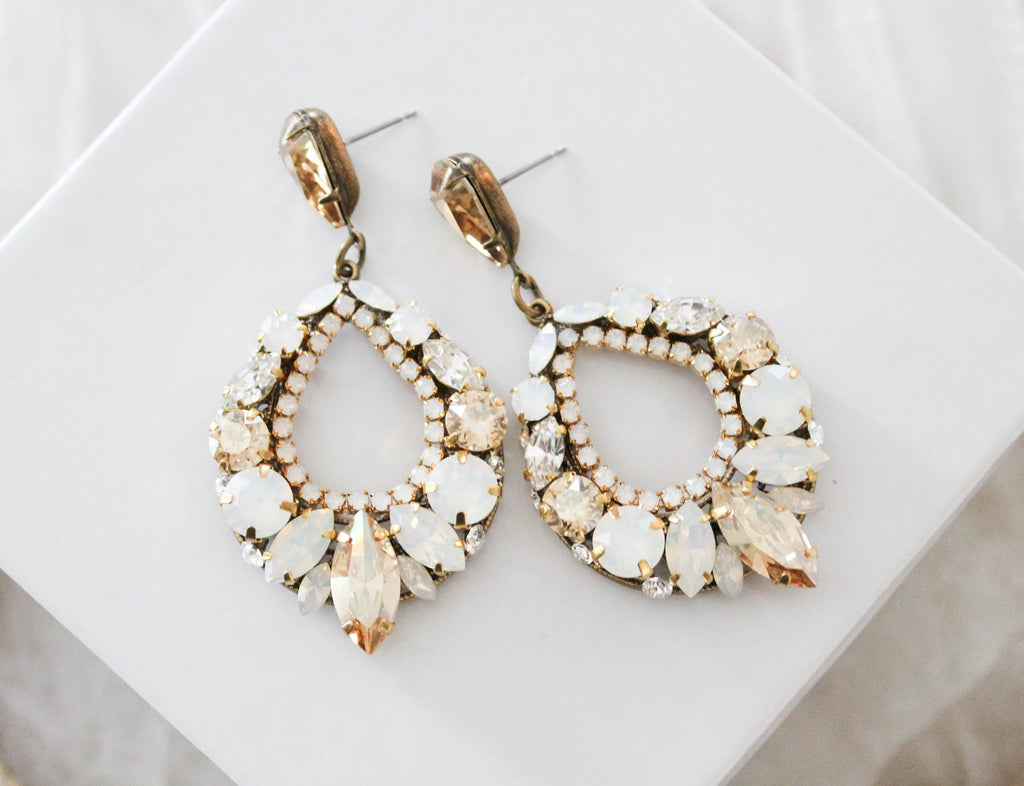 Antique gold Swarovski crystal hoop earrings - QUINN - Treasures by Agnes