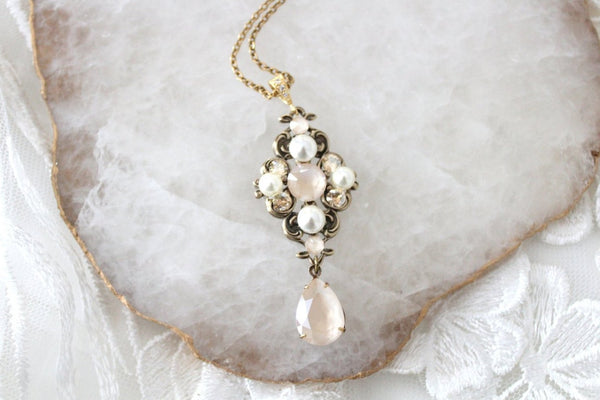 Antique gold Swarovski Ivory cream Crystal Bridal necklace - Treasures by Agnes