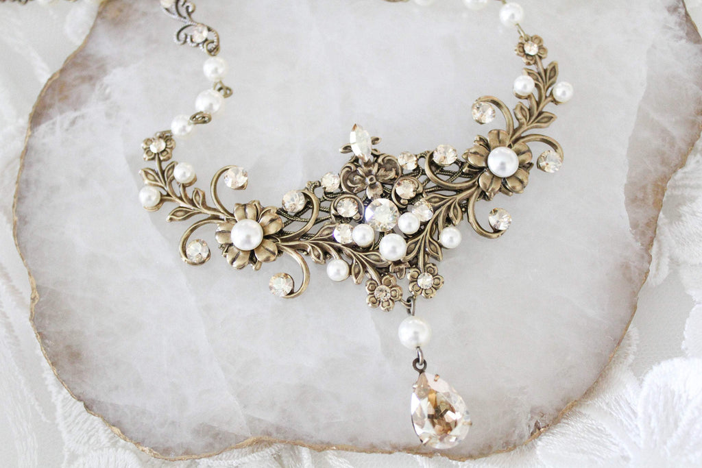 Antique gold Wedding necklace with Swarovski Crystals - treasures by agnes
