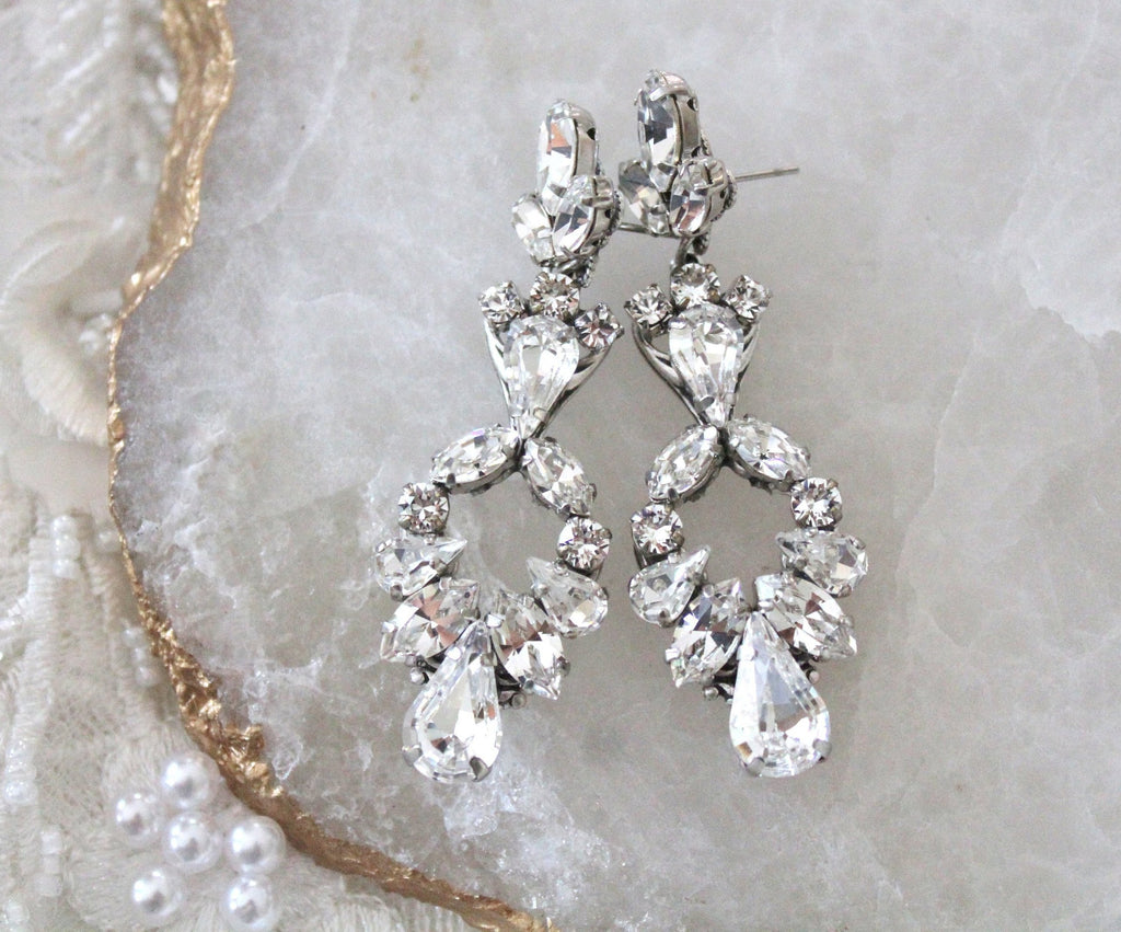 Long Chandelier Bridal earrings with Swarovski crystals - Treasures by Agnes
