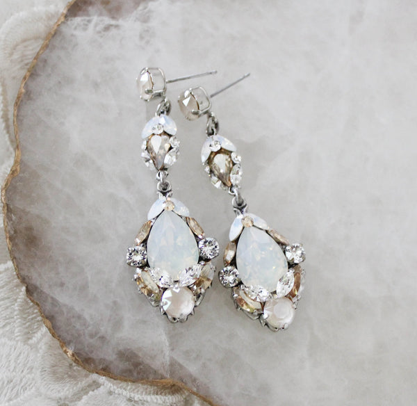 Antique silver Swarovski crystal Bridal earrings - Treasures by Agnes