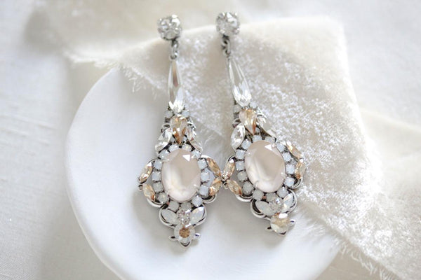 Long Drop Swarovski crystal Wedding earrings - HELEN