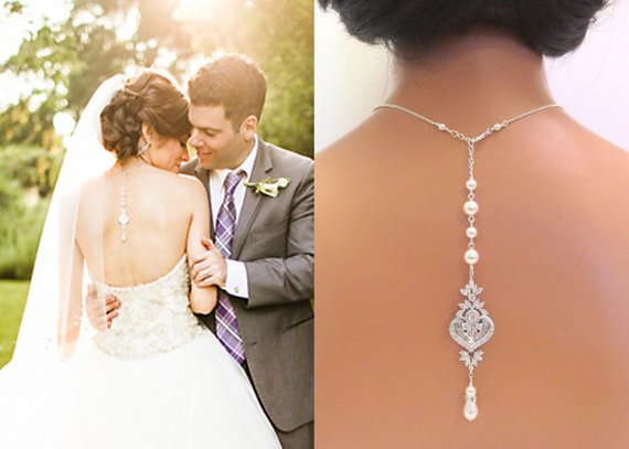 Backdrop necklace Bridal jewelry Wedding back necklace Cubic zirconia and pearls, EMMA - Treasures by Agnes