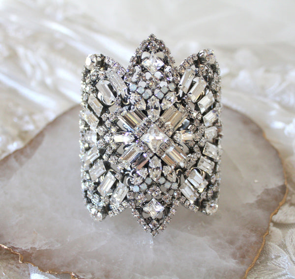 Art Deco Swarovski crystal statement Bridal bracelet - WILLOW - Treasures by Agnes