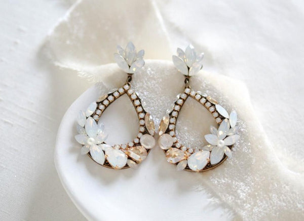 Antique gold hoop chandelier earrings for bride - BRYNN