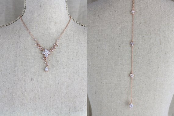 Delicate Rose gold bridal backdrop necklace and earring set - Treasures by Agnes