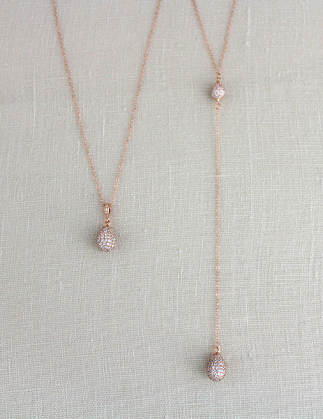 Dainty Back necklace with Rose gold filled chain - Treasures by Agnes