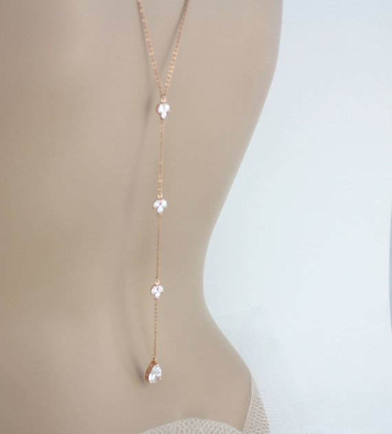 Delicate Rose gold Bridal backdrop necklace - LAUREN - Treasures by Agnes