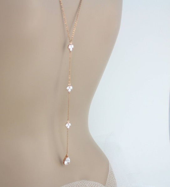 Delicate Rose gold backdrop necklace for Bride - Treasures by Agnes