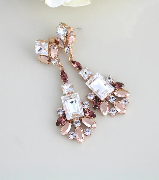 Rose gold statement earrings, Swarovski crystal earrings, Large earrings - Treasures by Agnes