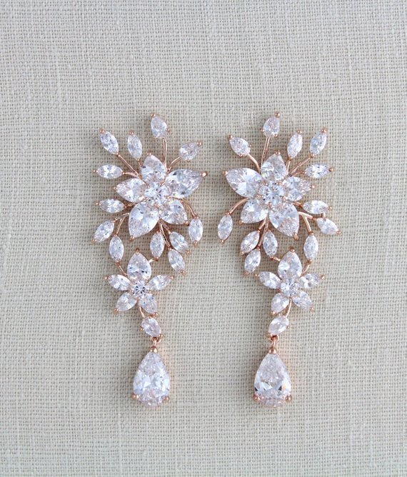 Large Rose gold Bridal earrings - Treasures by Agnes