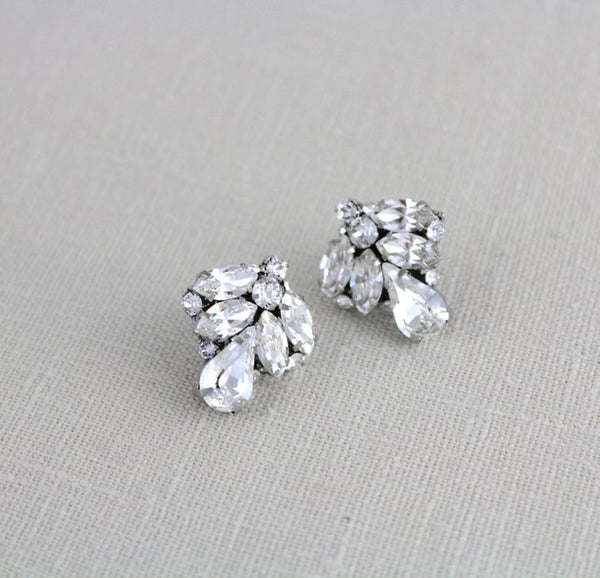 Vintage style Crystal stud bridal earrings with Swarovski stones - ASPEN - Treasures by Agnes